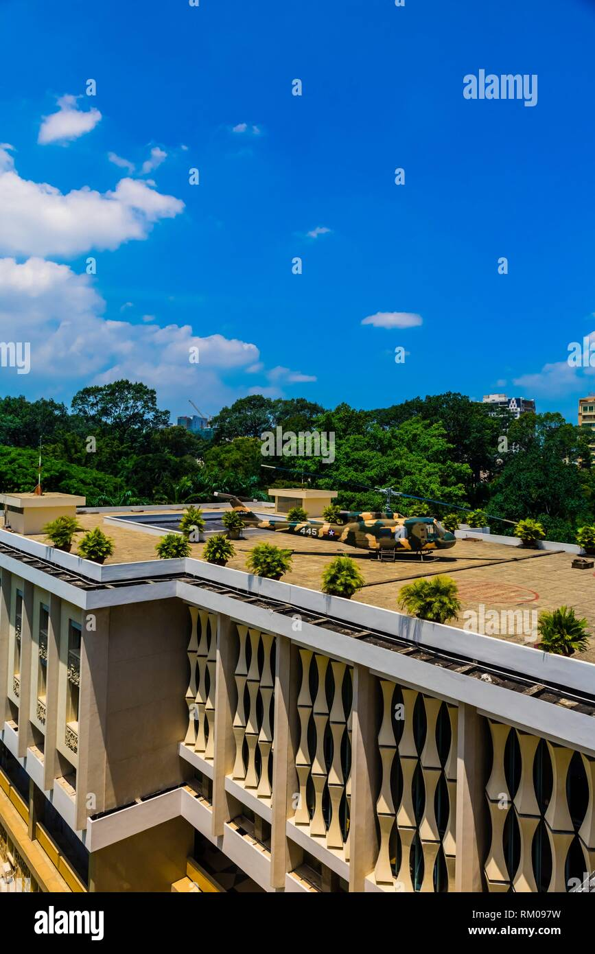 A replica of an American helicopter on the rooftop of the Reunification Palace (formerly the Presidential Palace), Ho Chi Minh City (Saigon), Vietnam. - Stock Image
