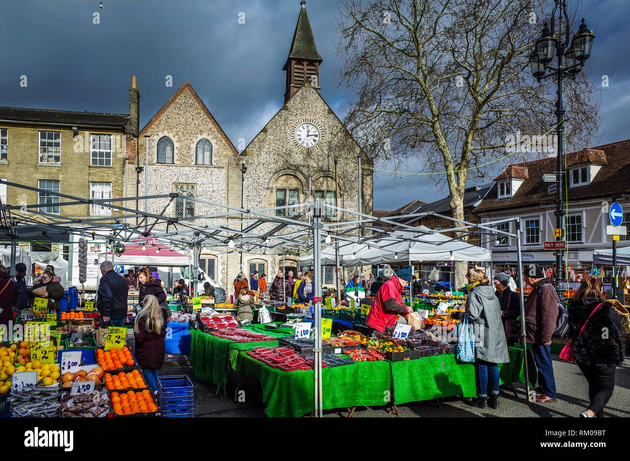 Bury St Edmunds Market - the thriving market in the Suffolk town of Bury St Edmunds in East Anglia UK - Stock Image