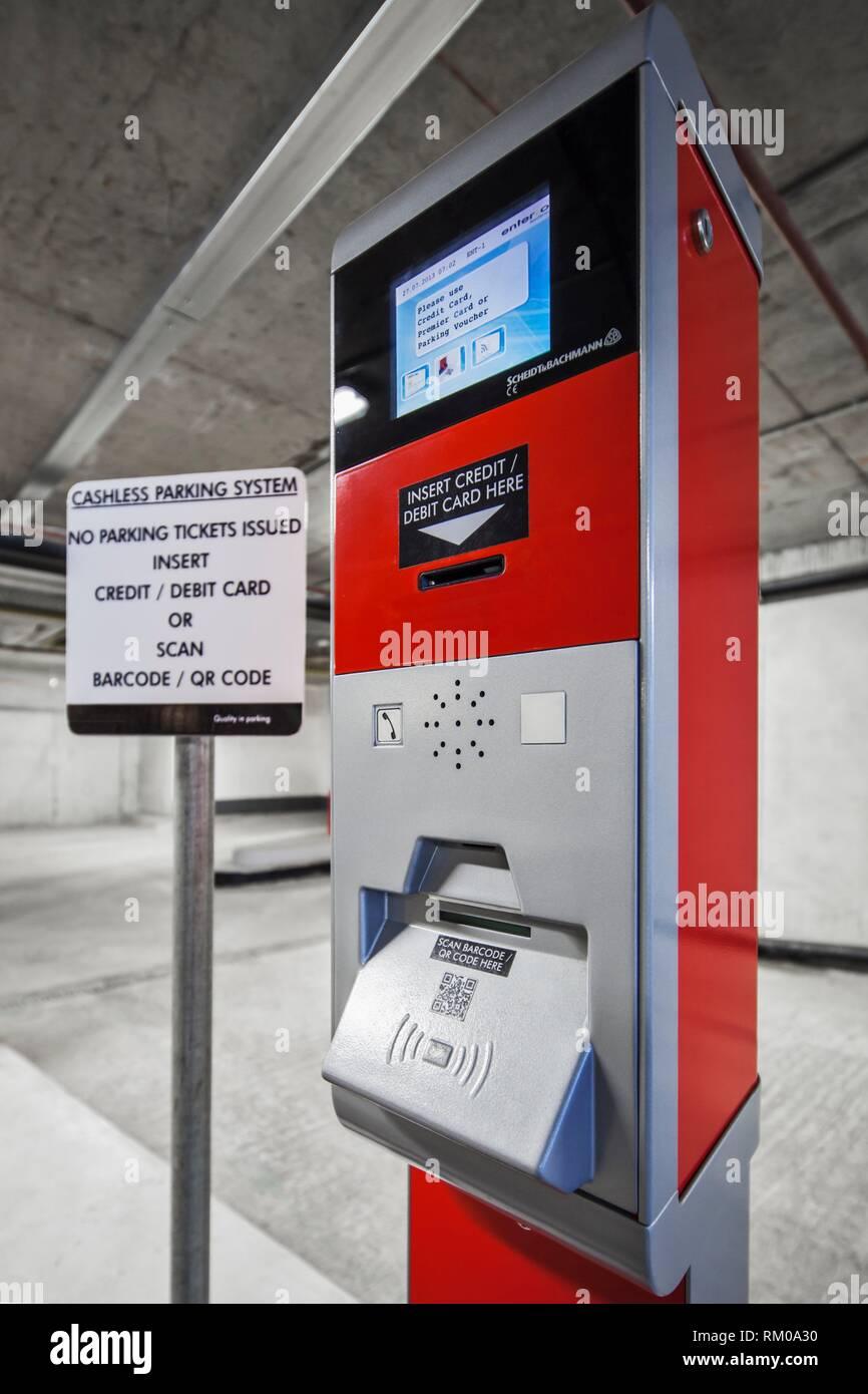 Cashless car park ticketing machine, located in a car park, Dublin, Co. Dublin Ireland. - Stock Image
