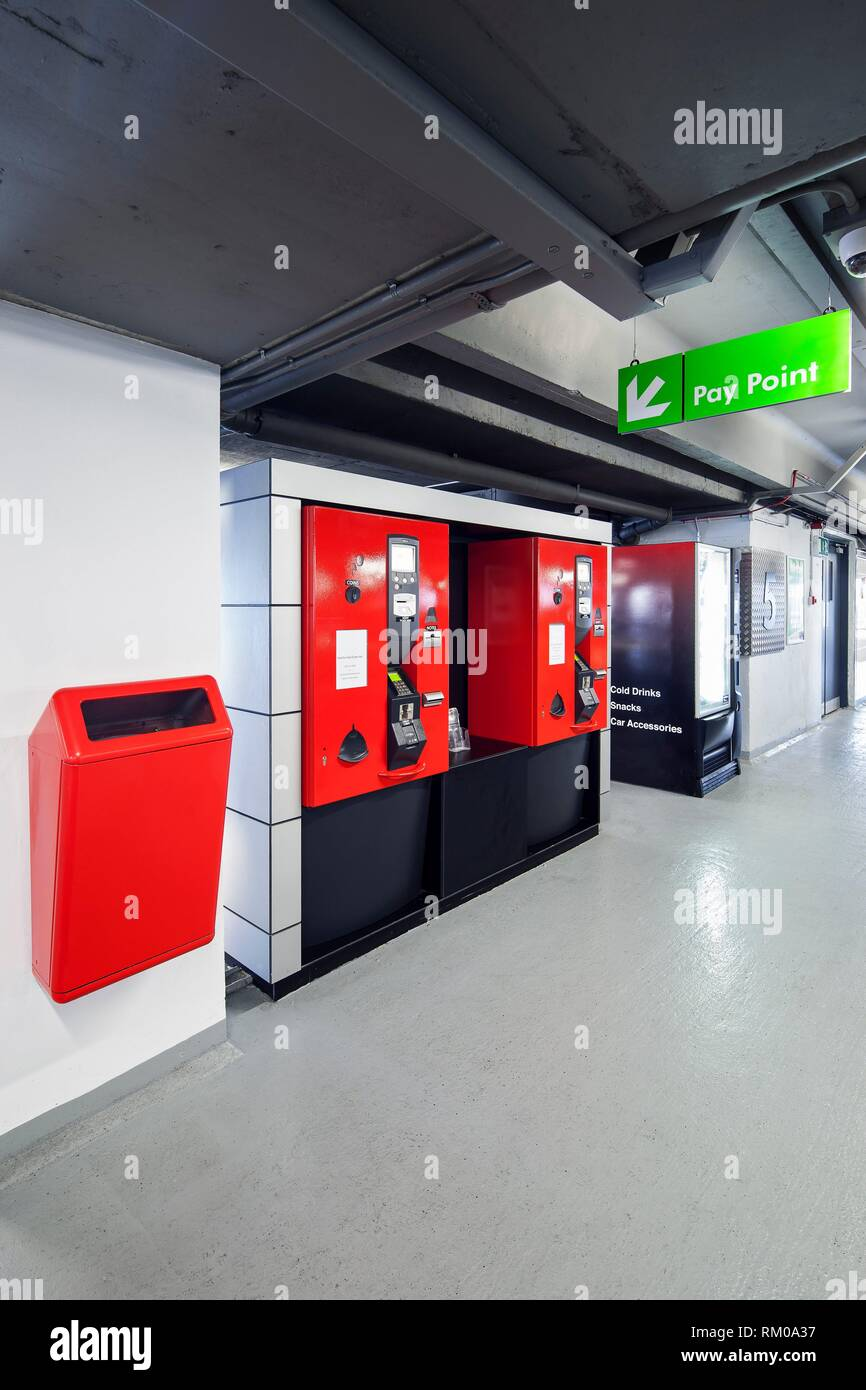 Ticket machines in the interior of Q-Park Eyre Square car park, Galway, Co. Galway, Ireland. - Stock Image