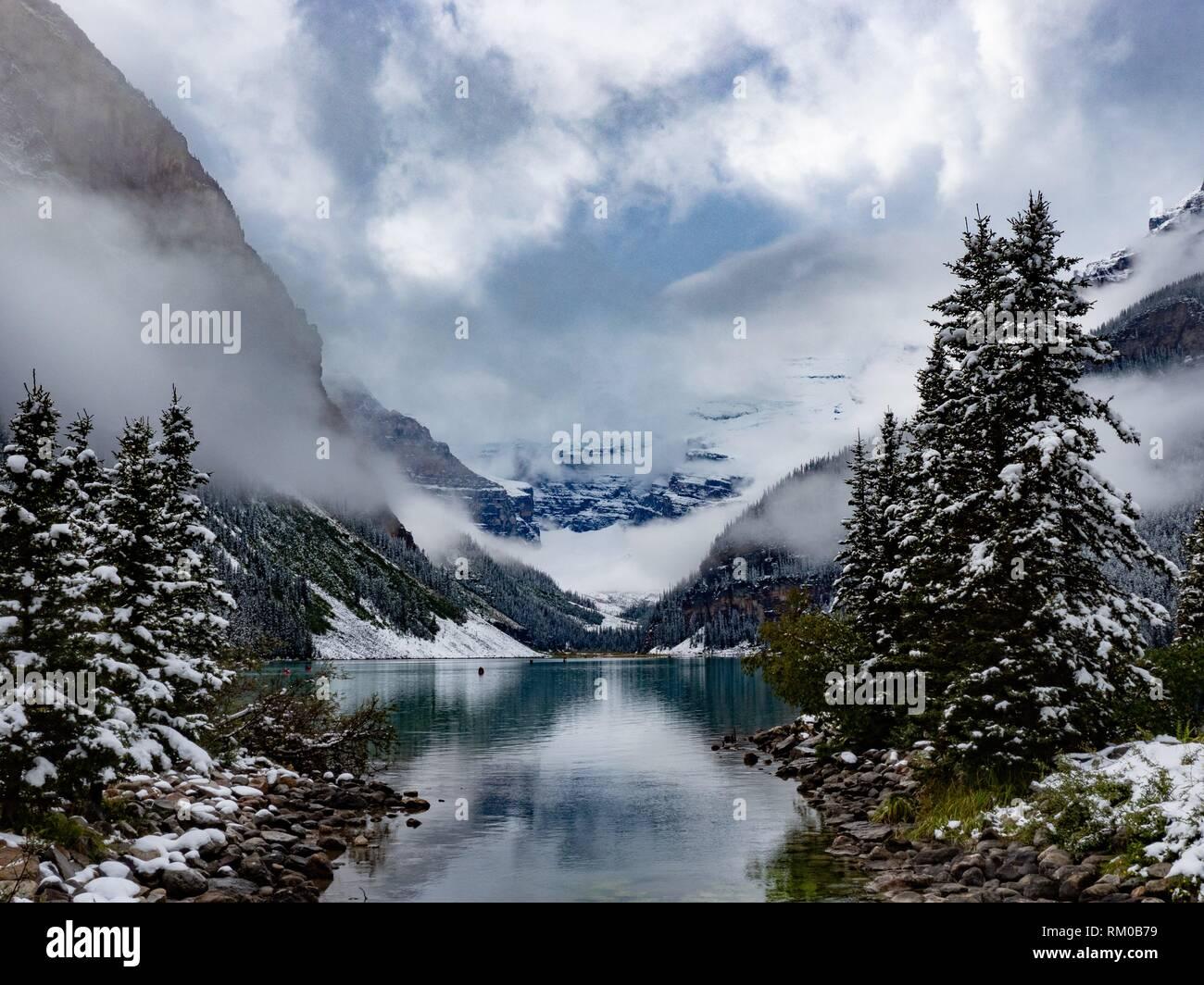 Canadian Rockies. Lake Louise. Winter. - Stock Image