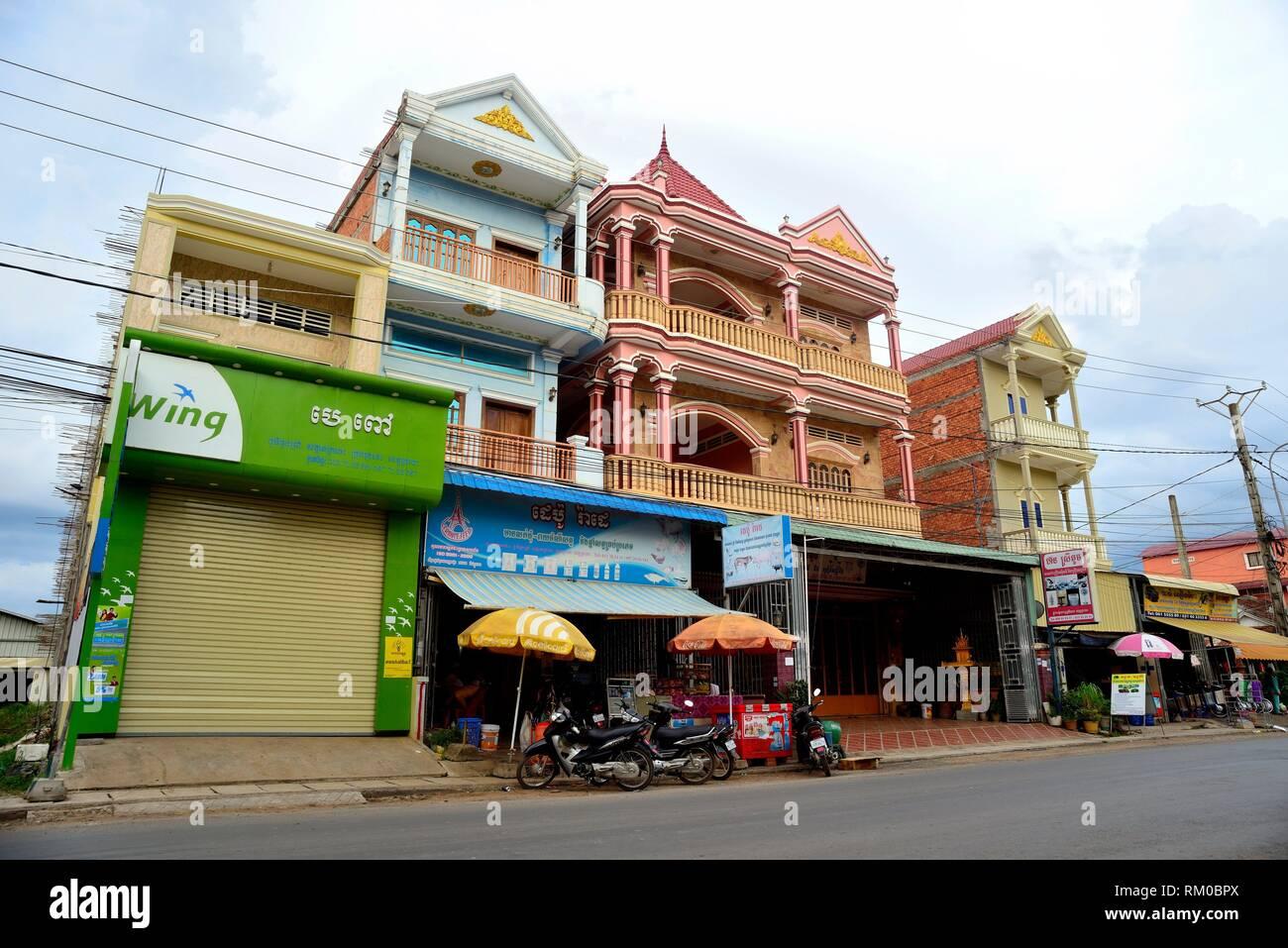 Facades in Sihanouk street, Kratie, Cambodia. Stock Photo
