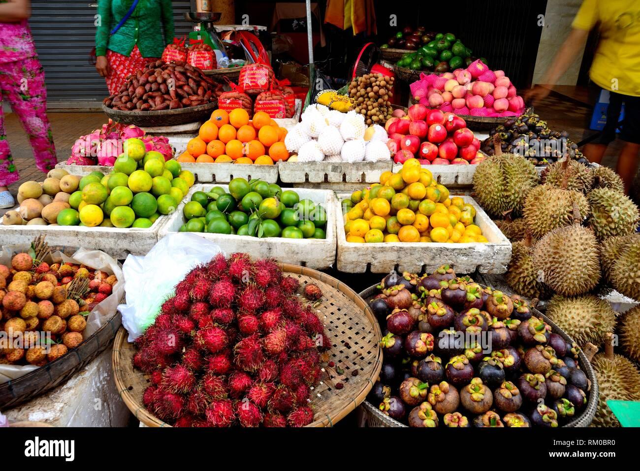 Fruit stand in Preah Sihanouk street. Street Market (Psar) of Kratie, Cambodia Stock Photo
