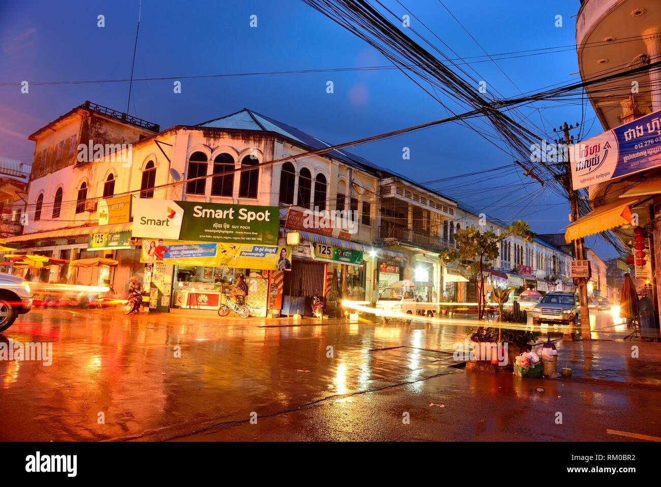 Preah Sihanouk street. Street Market (Psar) of Kratie, Cambodia. Stock Photo