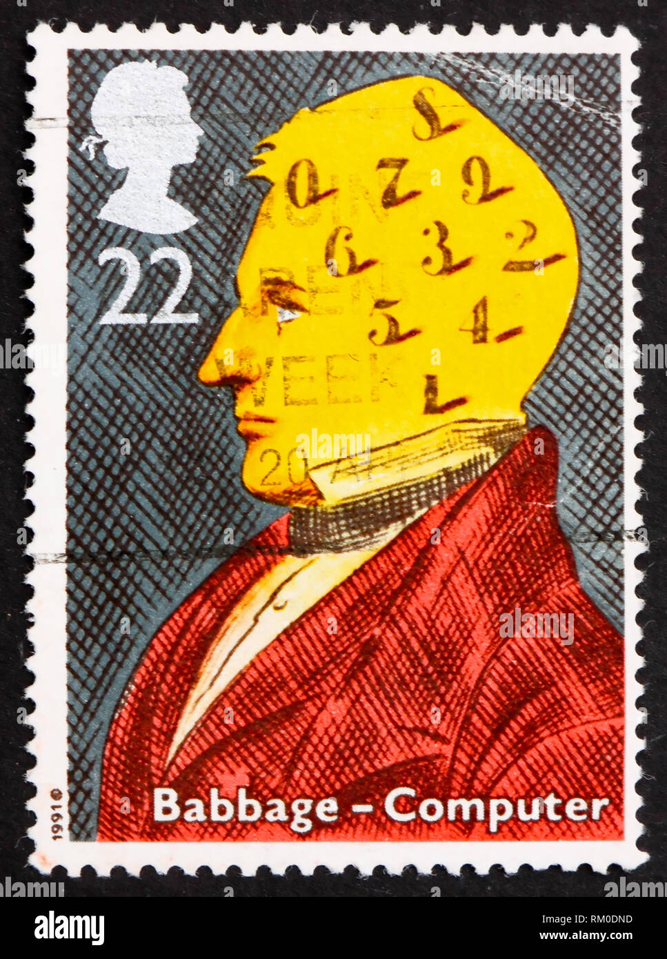 GREAT BRITAIN – CIRCA 1991: a stamp printed in the Great Britain shows Charles Babbage, computers, circa 1991 - Stock Image