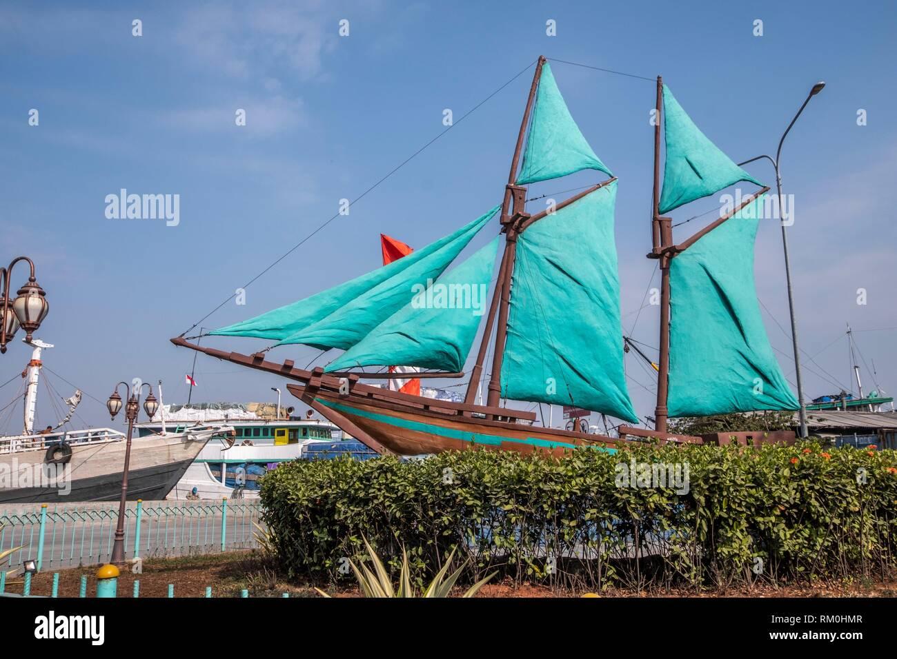 Sunda Kelapa port in Jakarta, Indonesia - Stock Image