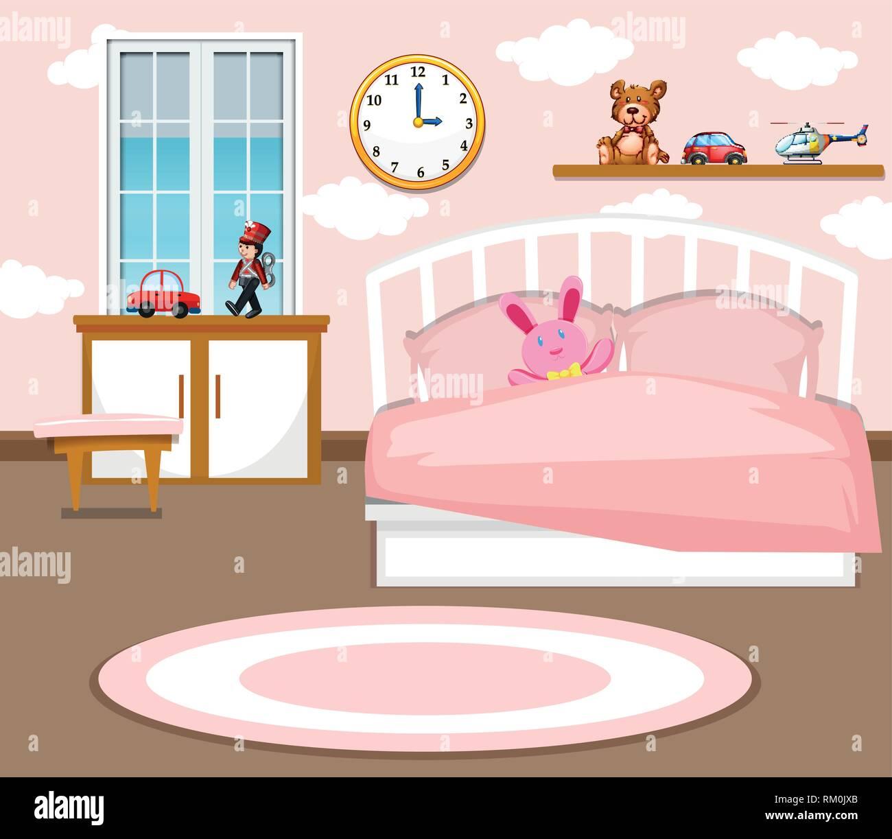 A Cute Girl Bedroom Background Illustration Stock Vector Art