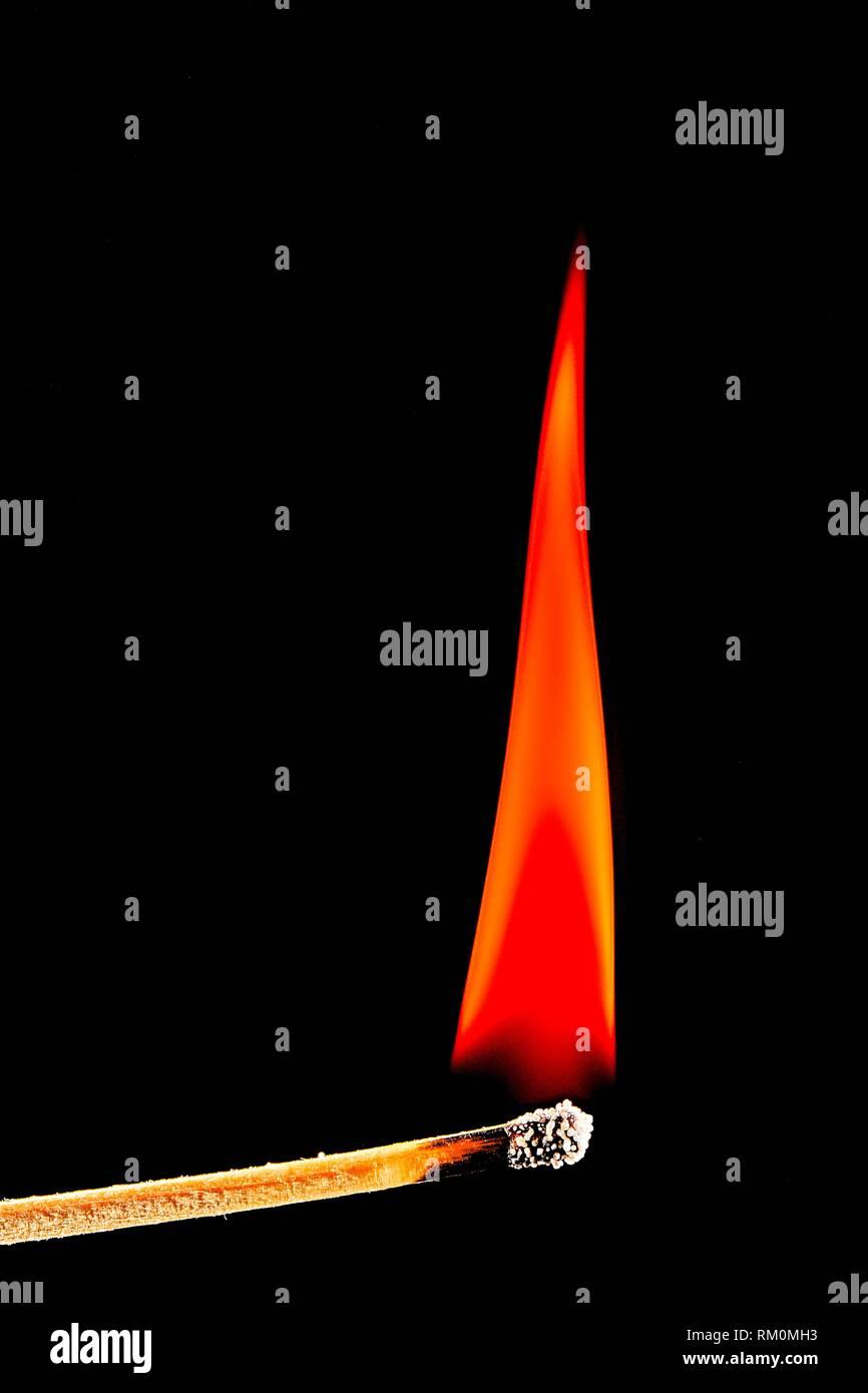 Andalusia, Benalmadena, Phosphorus flame with smoke, Lighting a match, Malaga province, Spain. - Stock Image