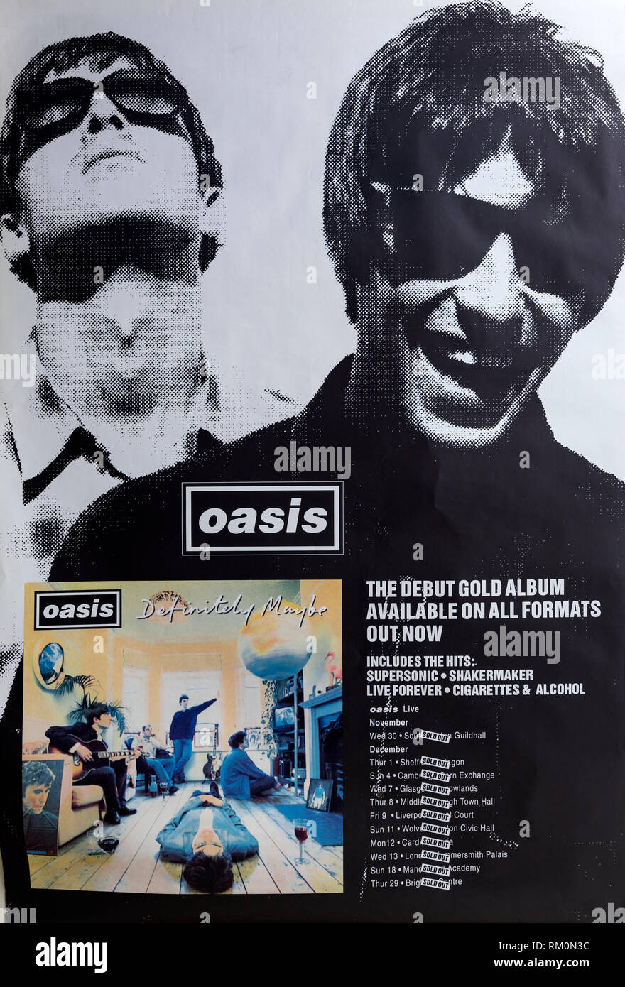 Oasis Definitely Maybe promo album Musical concert poster - Stock Image