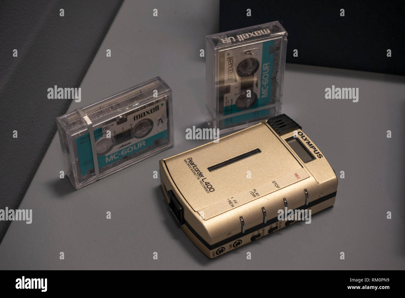 Olympus Pearlcorder L400 micro-cassette recorder, as used by a Police undercover agent, The Mob Museum, Las Vegas, Nevada, United States. - Stock Image