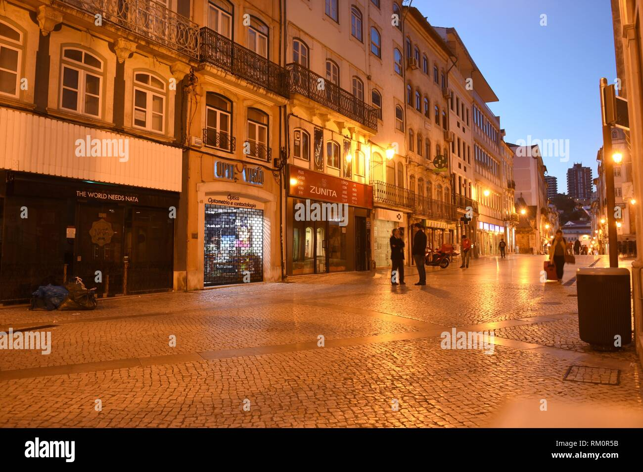 commercial street in the center of the city of Coimbra, Portugal. - Stock Image