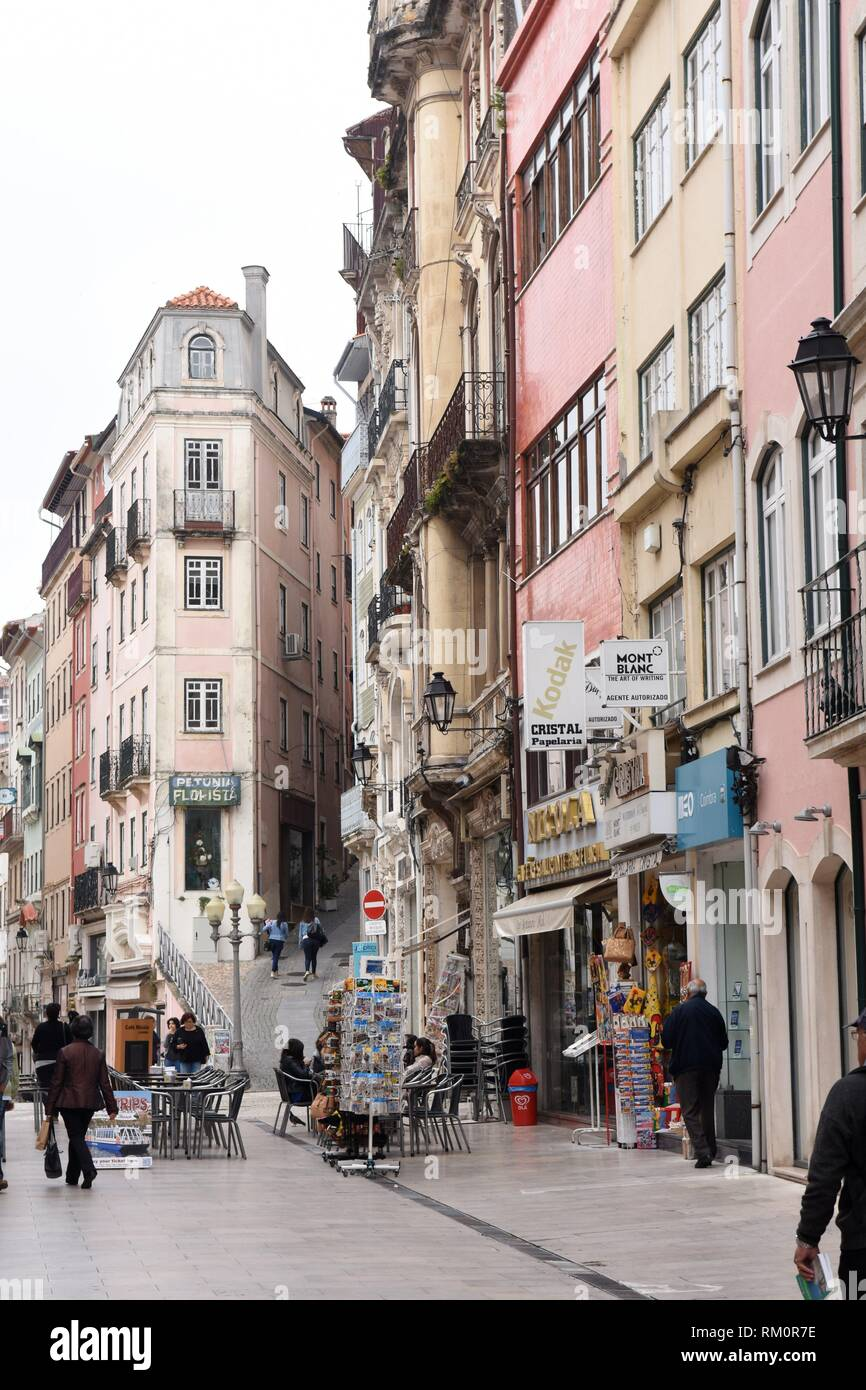 commercial street in the city of Coimbra, Portugal. - Stock Image