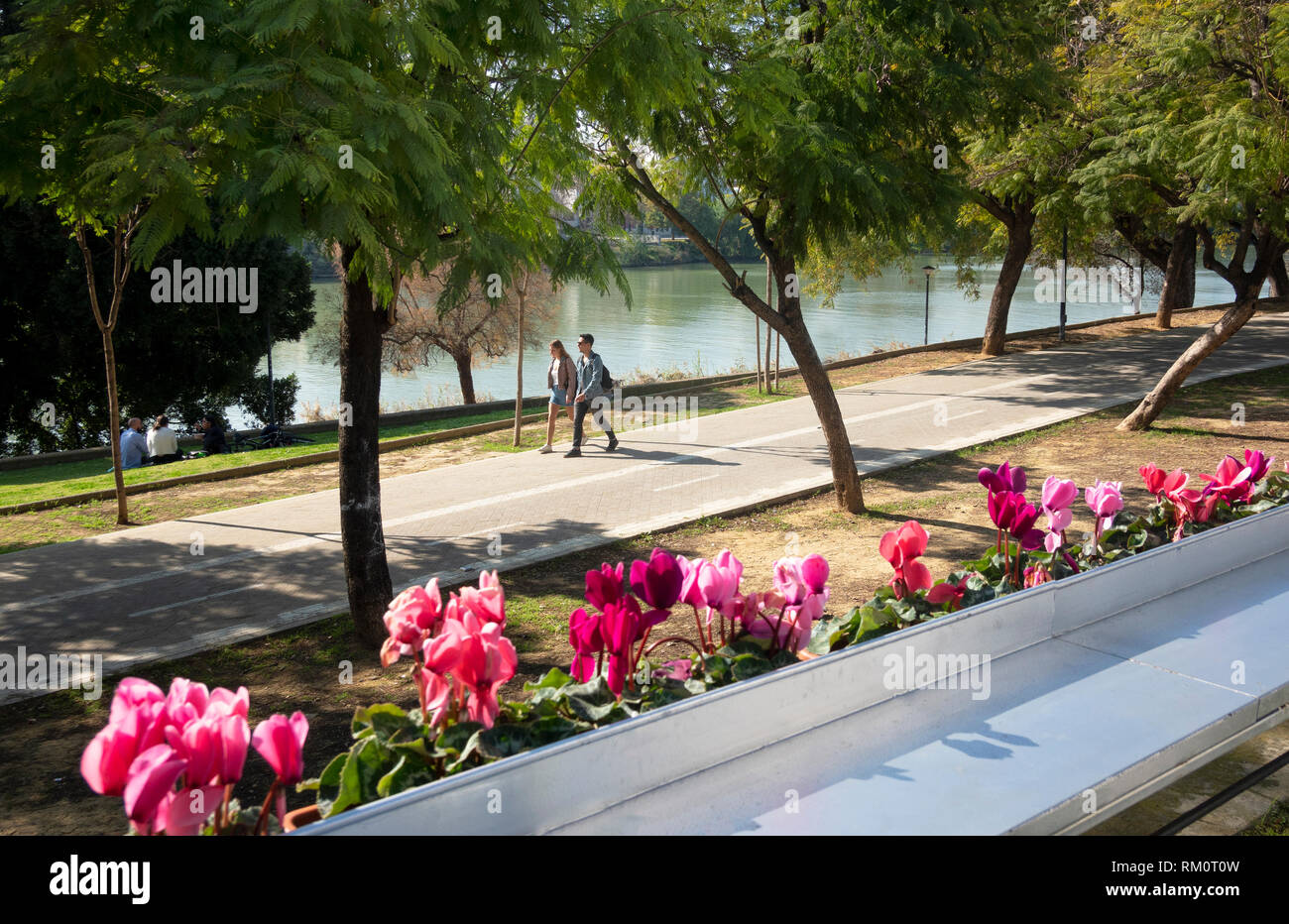 A young couple walking beside the Guadalquivir river on a warm February day in Seville, Spain - Stock Image