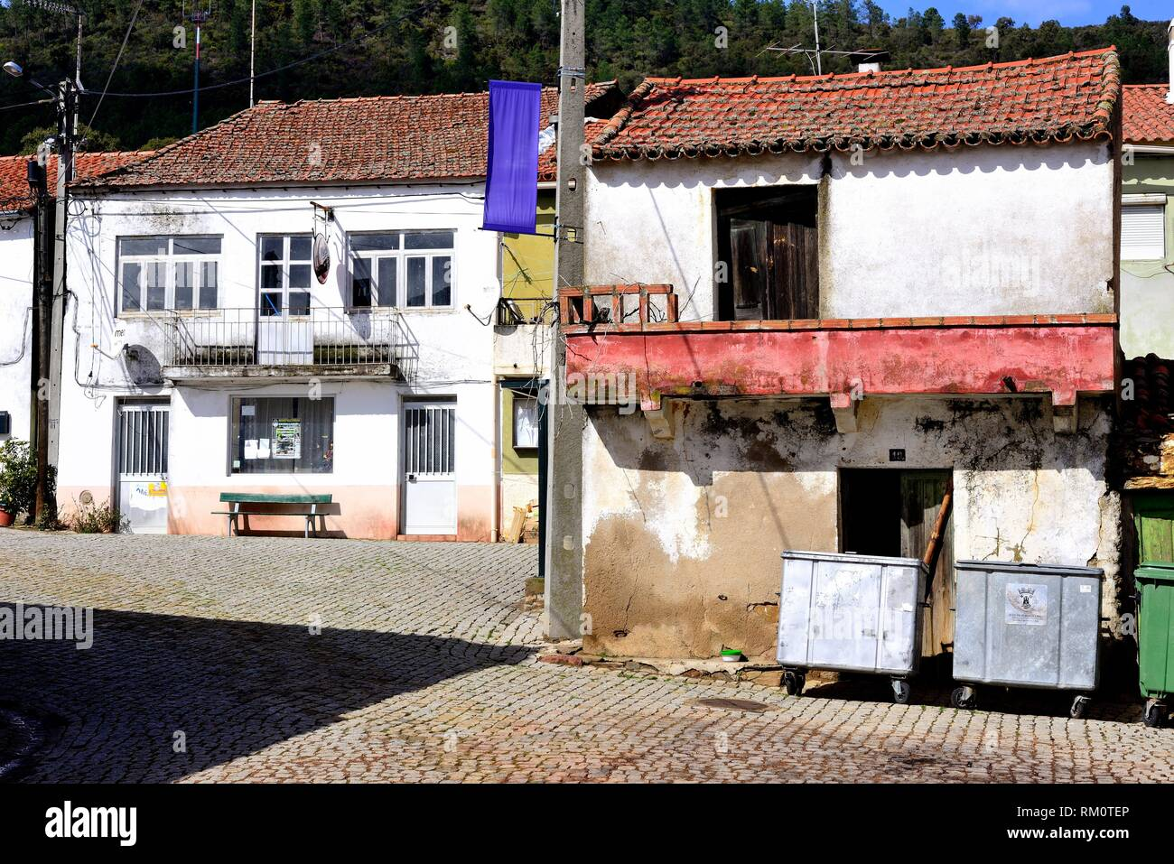 Customary facades in Monfortinho, Castelo Branco, Portugal. - Stock Image