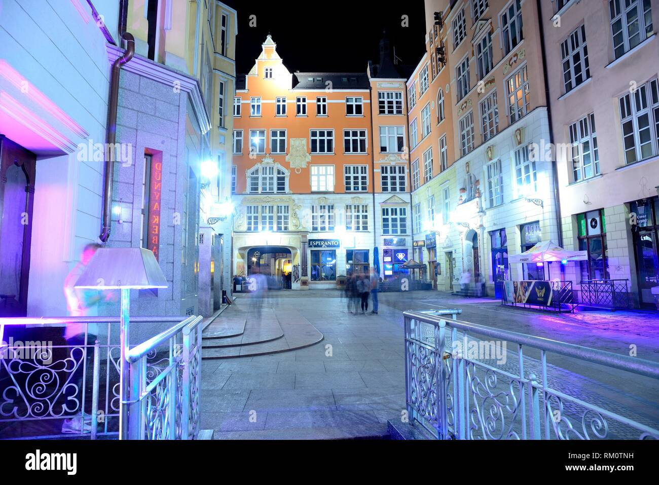 Small square at night in Wroclaw or Breslau, Poland Stock Photo