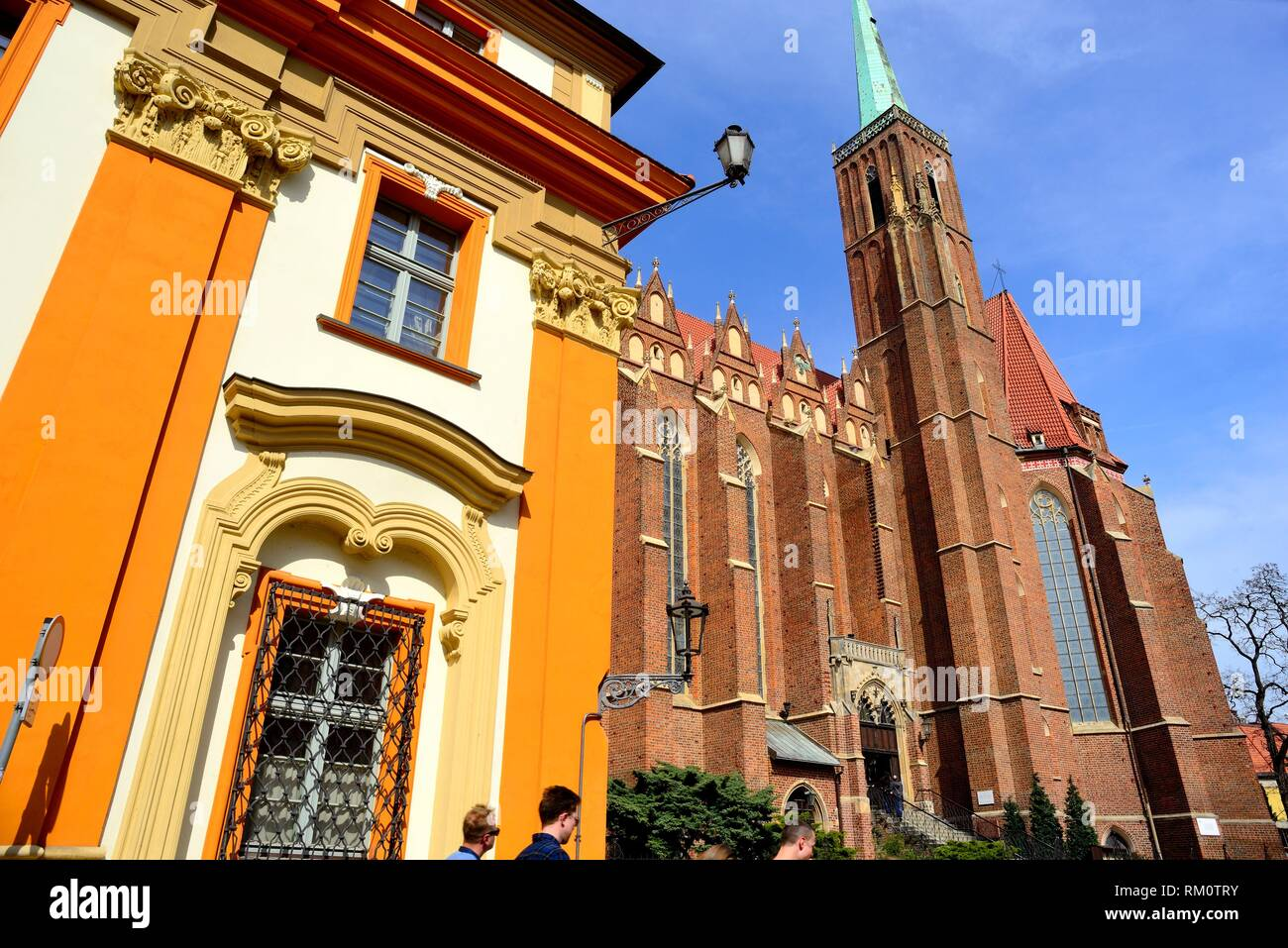 Church of Santa Cruz in the islands of Wroclaw or Breslau, Poland. Stock Photo