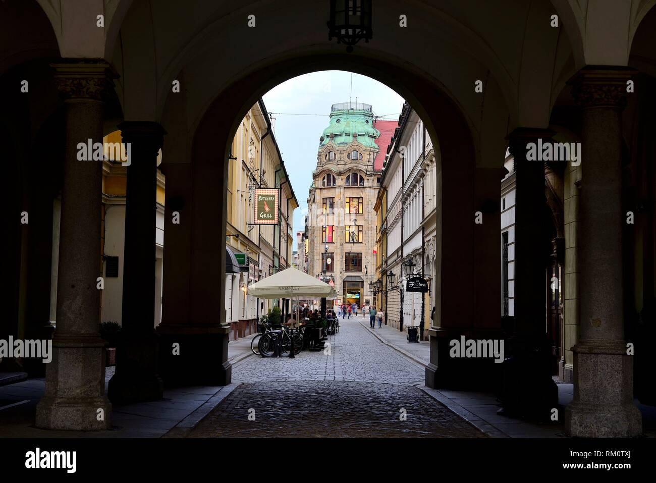 """Passage in market square or Rynek in Wroclaw """"""""Breslau"""""""", Poland. Stock Photo"""
