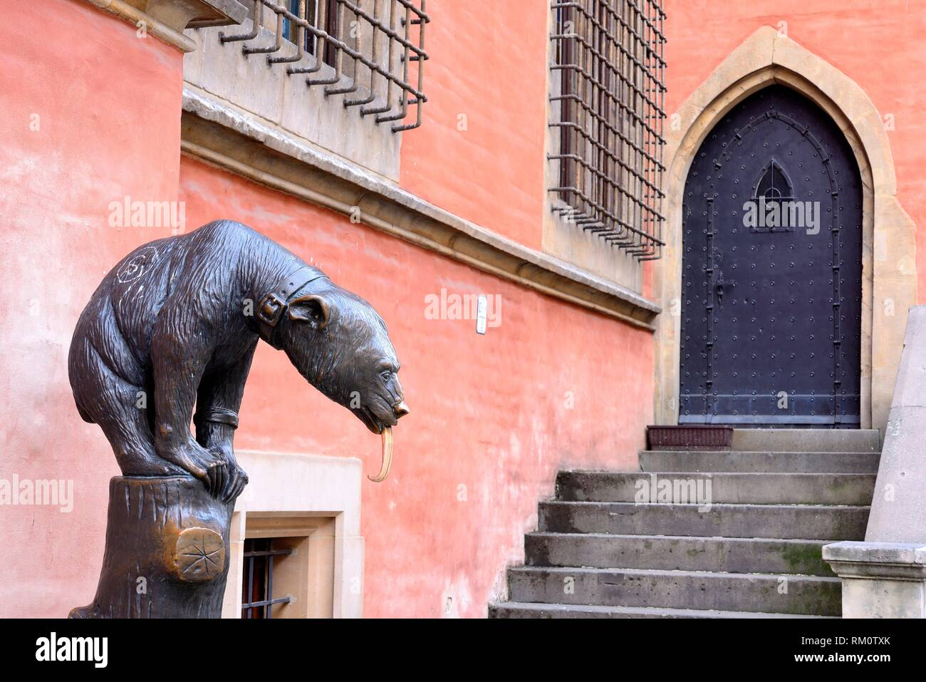 """Bear sculpture in front of City Hall in Wroclaw """"""""Breslau"""""""", Poland. Stock Photo"""