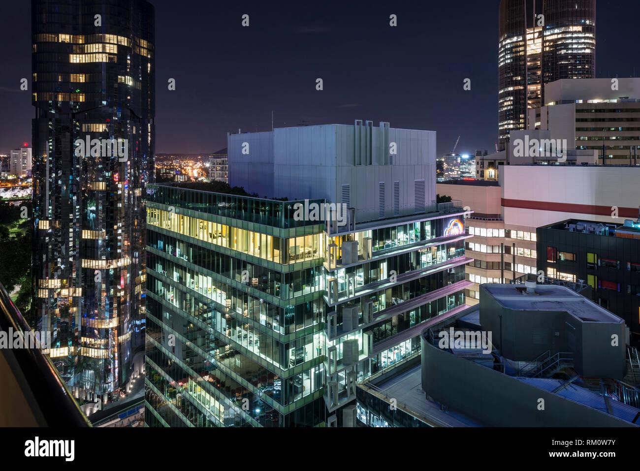 A cityscape of Brisbane at night. Stock Photo