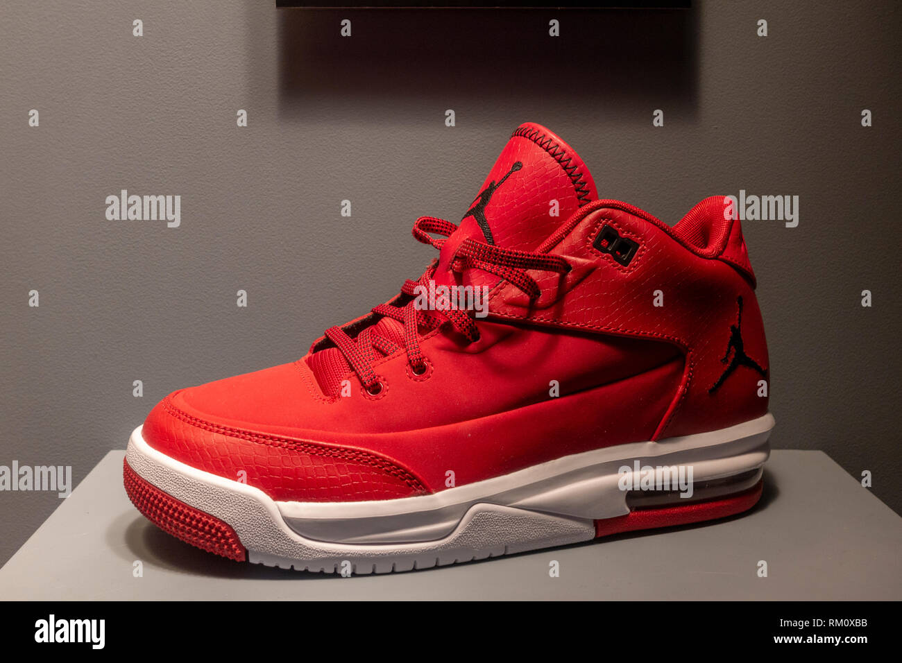 newest 022ec 35d55 A fake Nike Air Jordan high-top shoe on the Fake or Real display,