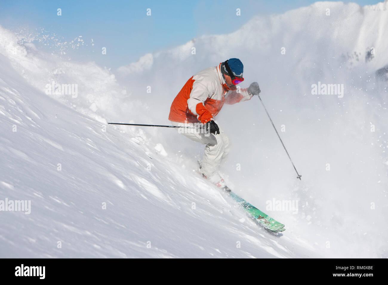 Ski action - Stock Image