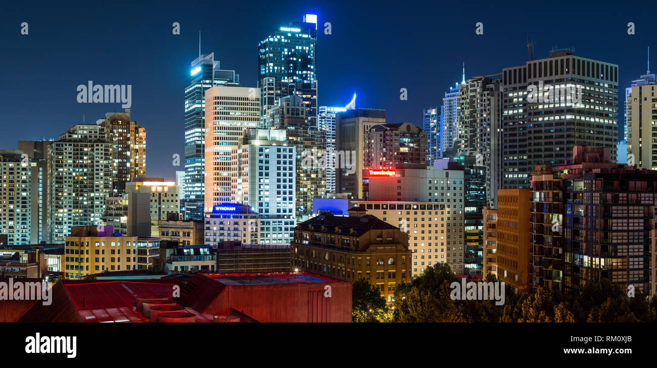 A view of the Sydney skyline at night. - Stock Image
