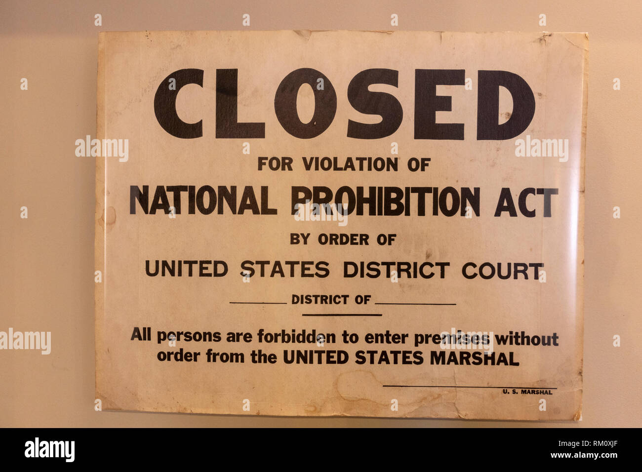 Volstead violation sign, used by Prohibition agents after they raided a speakeasy, The Mob Museum, Las Vegas, Nevada, United States. - Stock Image