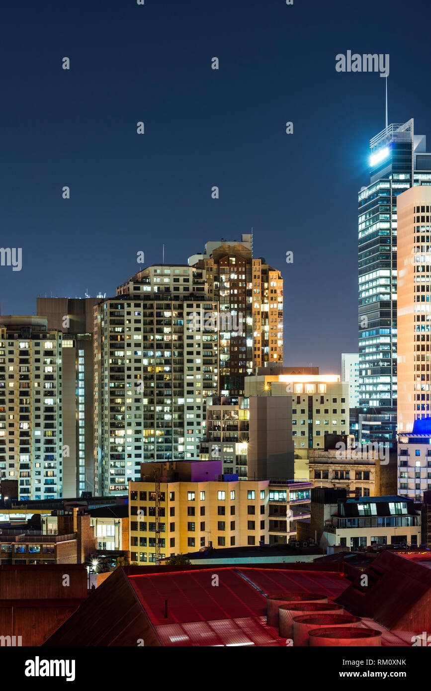 A view of the Sydney skyline at night. Stock Photo