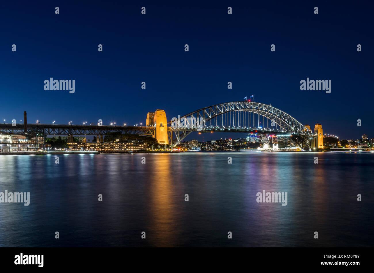 Sydney Harbour Bridge by night. Stock Photo