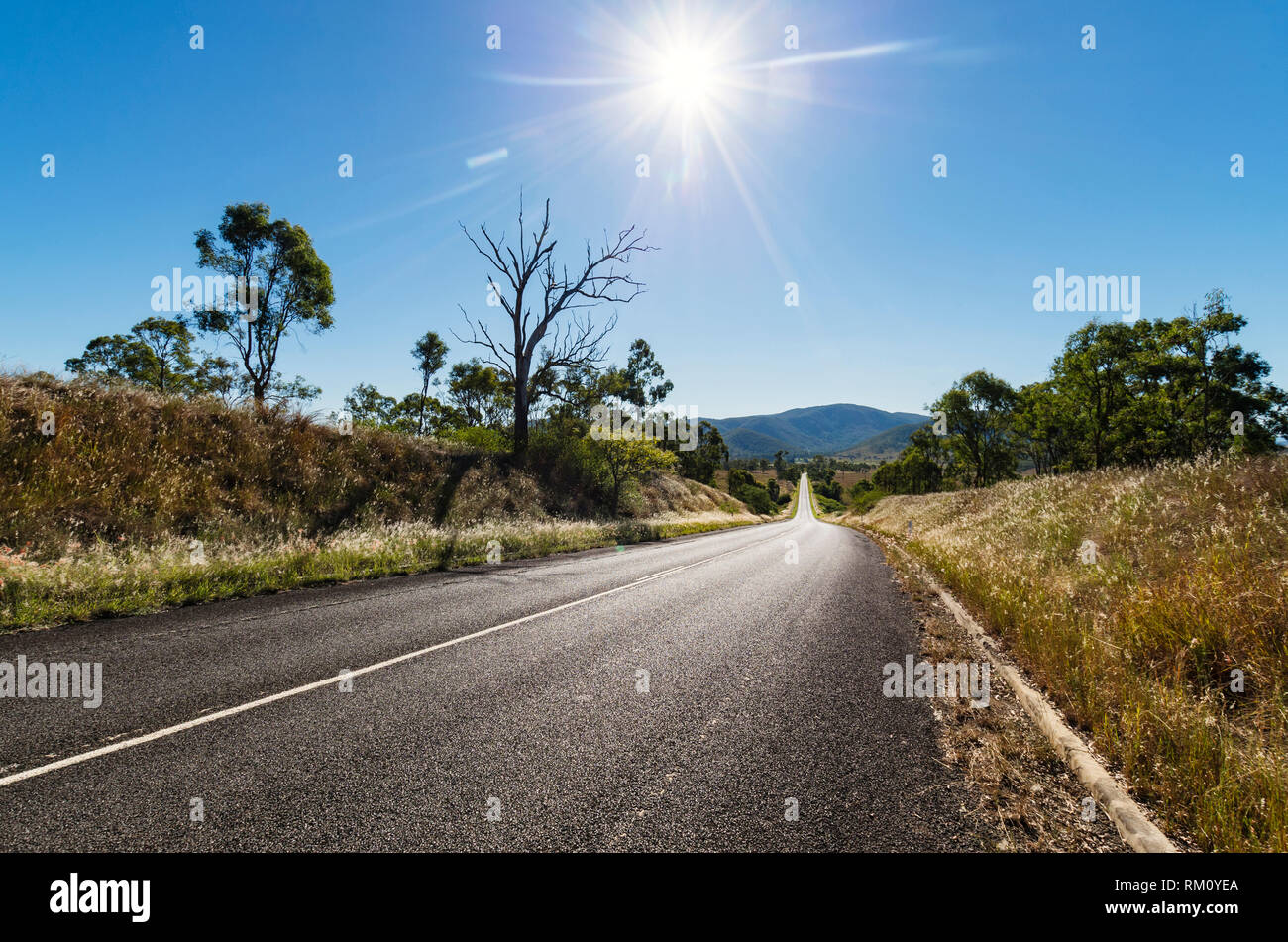 A view down an empty road outside Brisbane with a midday sun. Stock Photo
