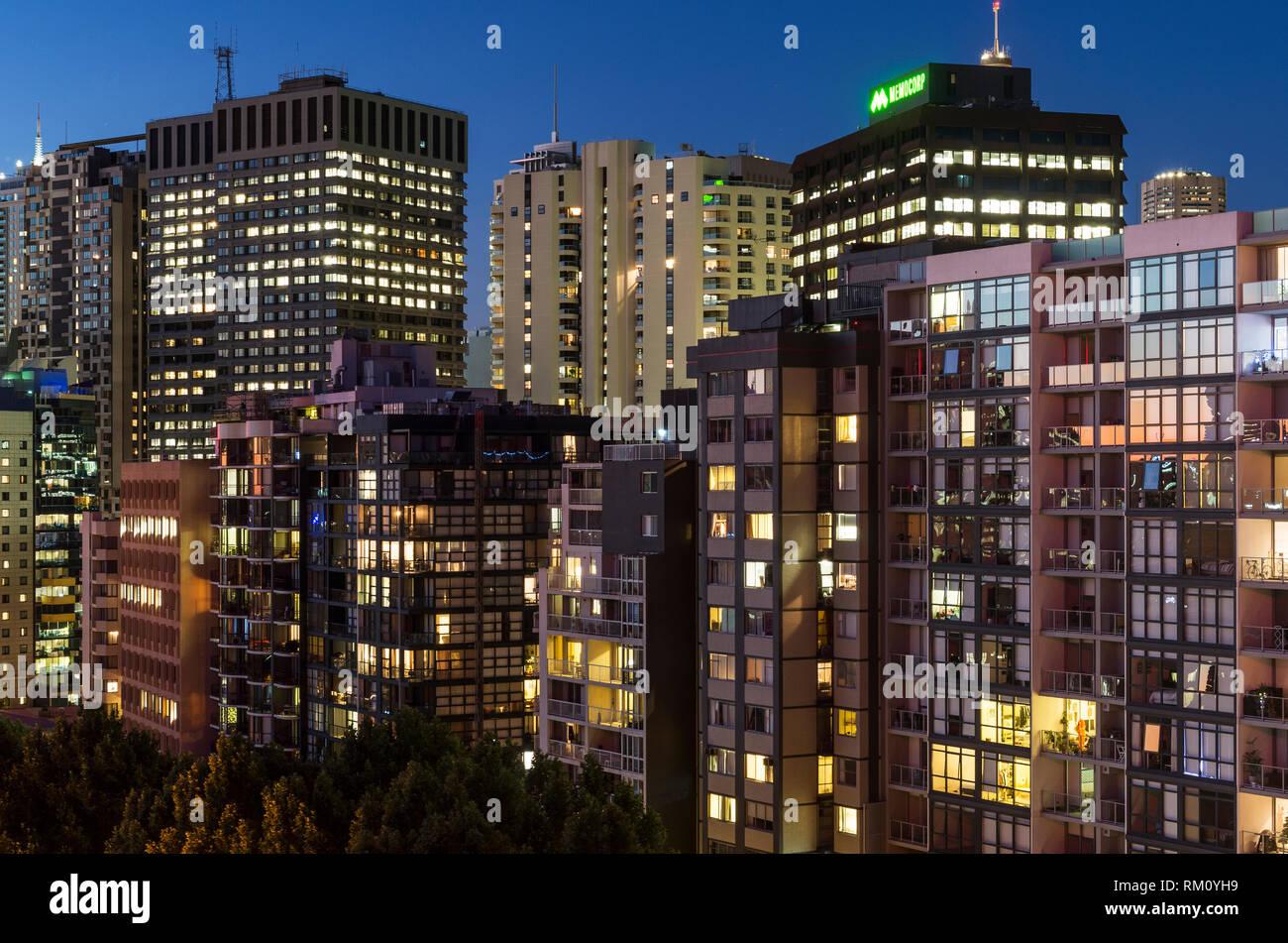 Night architecture in Sydney. Stock Photo
