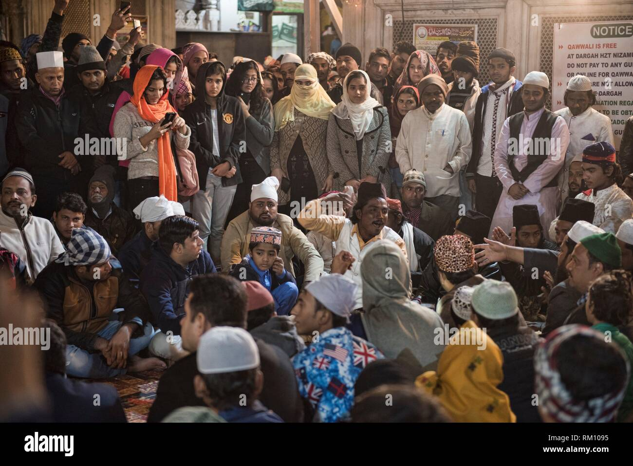 Quawwali at Nizamuddin Dargah, the Sufi saints mausoleum, Old Delhi, India. Stock Photo
