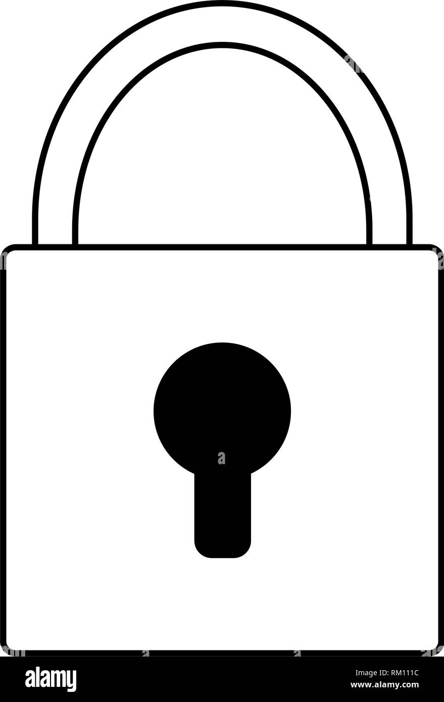 padlock security device symbol in black and white - Stock Image