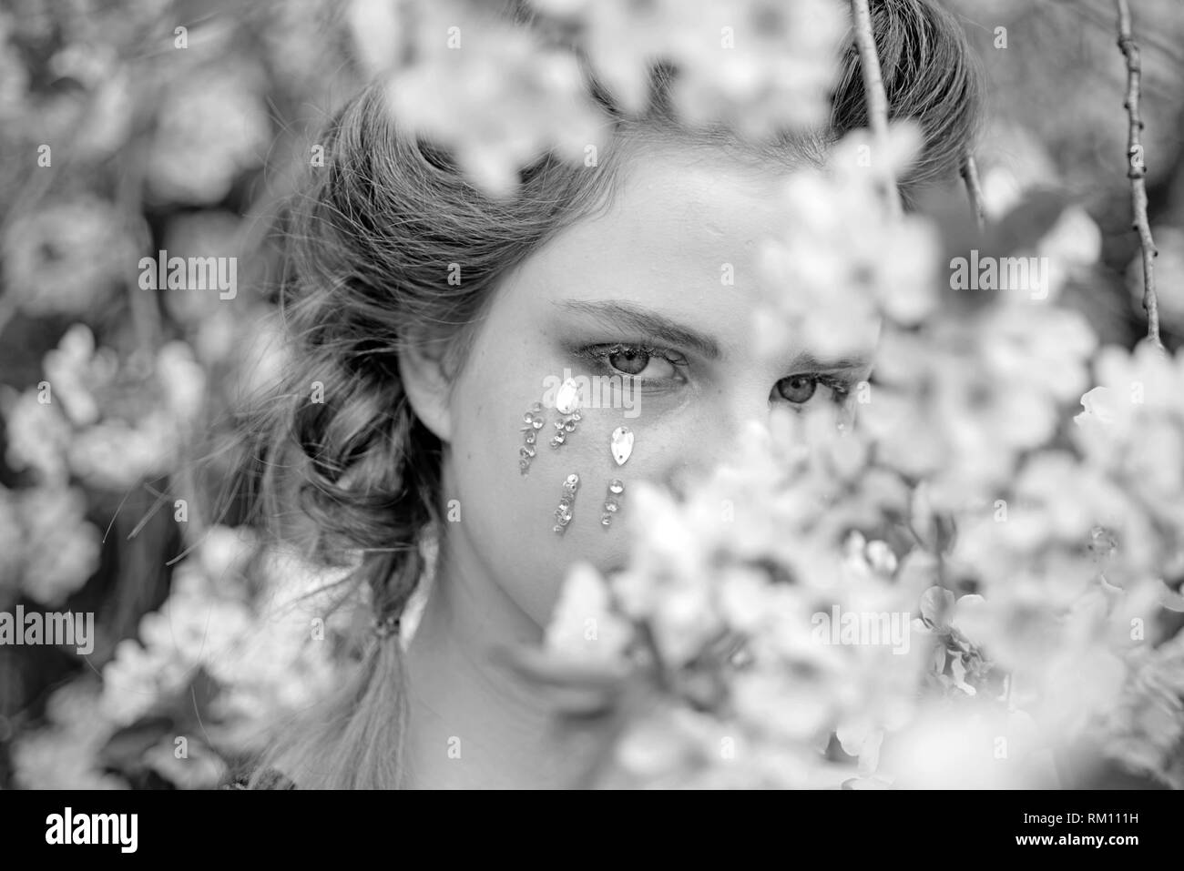 face and skincare. womens health. allergy to flowers. Springtime vacation. weather forecast. Natural beauty and spa therapy. Woman with spring fashion - Stock Image