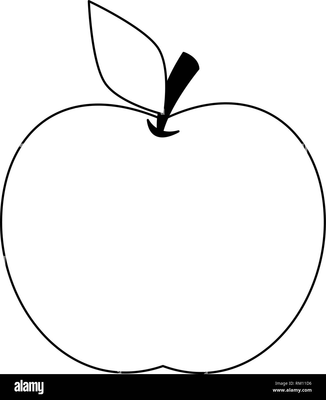 Apple fruit cartoon isolated in black and white stock vector art