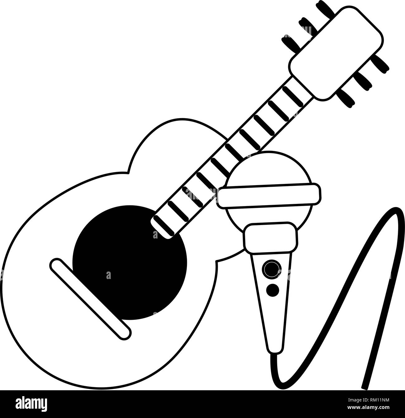 Acoustic Guitar And Microphone Cartoon In Black And White Stock Vector Image Art Alamy