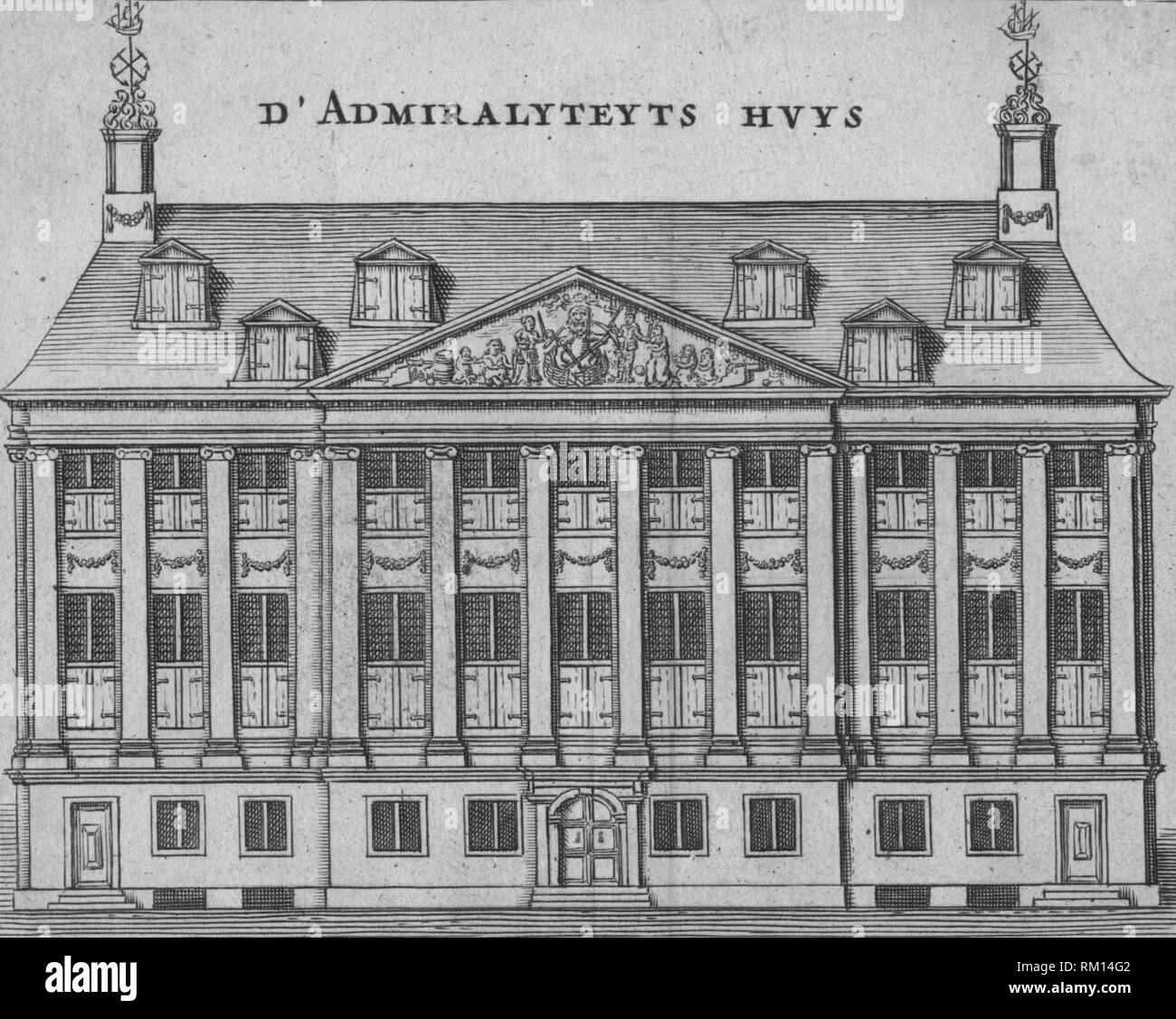 'D'Admiralyteyts Huys', late 17th-early 18th century. Admiralty House, seat of the  the Dutch East India Company (Vereenigde Oostindische Compagnie - VOC) in Amsterdam, Netherlands. The building dates from 1656, and was designed by Daniël Stalpaert. - Stock Image