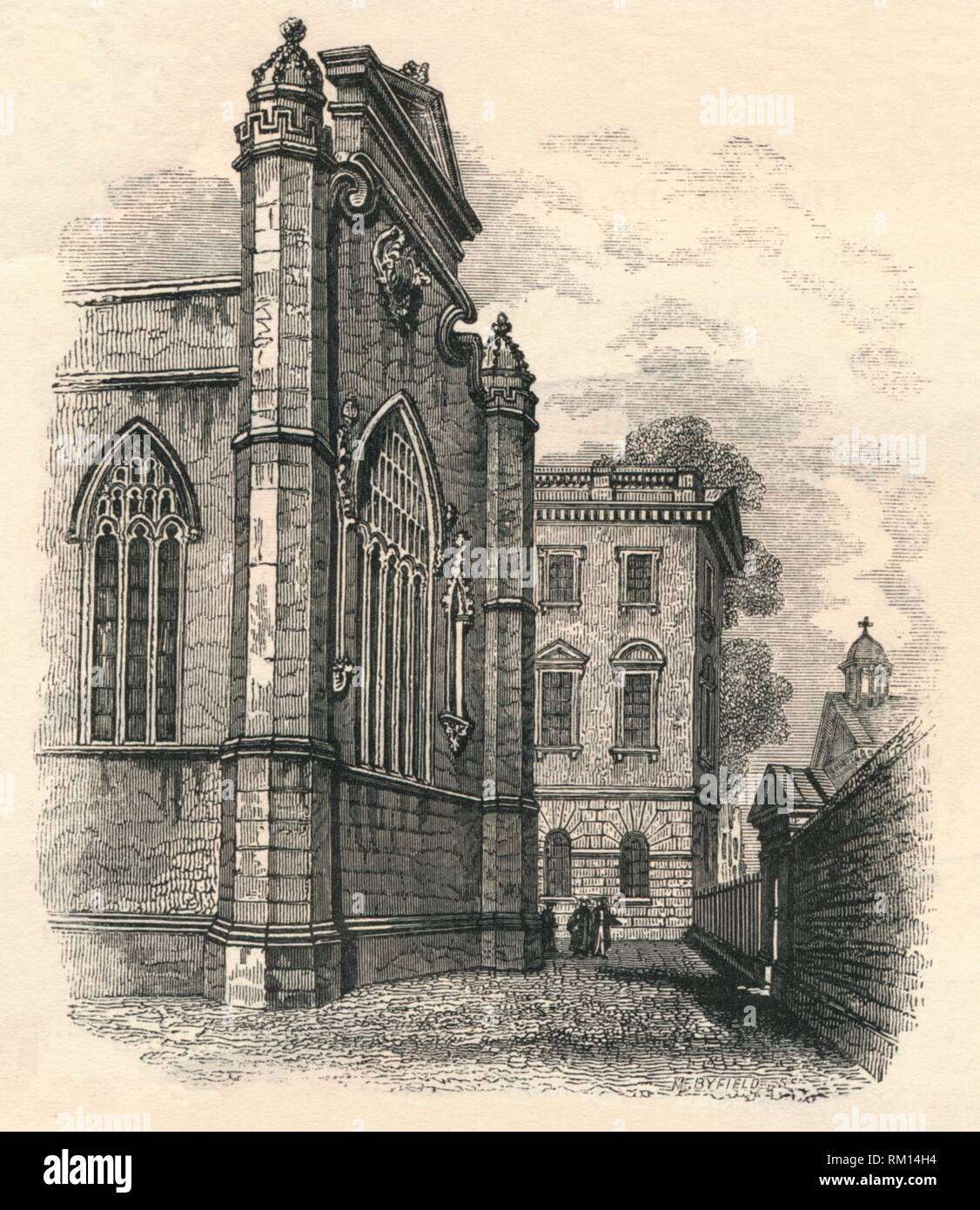 'The East End of the College Chapel', Peterhouse, Cambridge 19th century? The chapel was built in 1628. - Stock Image