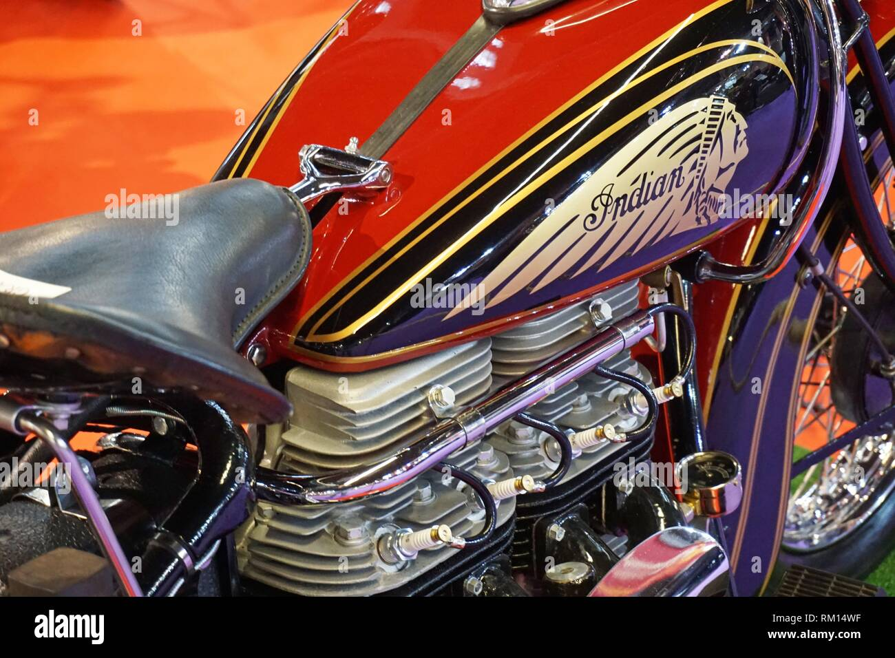 Late 1930s Indian Scout motorcycle. Autoretro Barcelona, Barcelona, Catalonia, Spain, Europe. - Stock Image