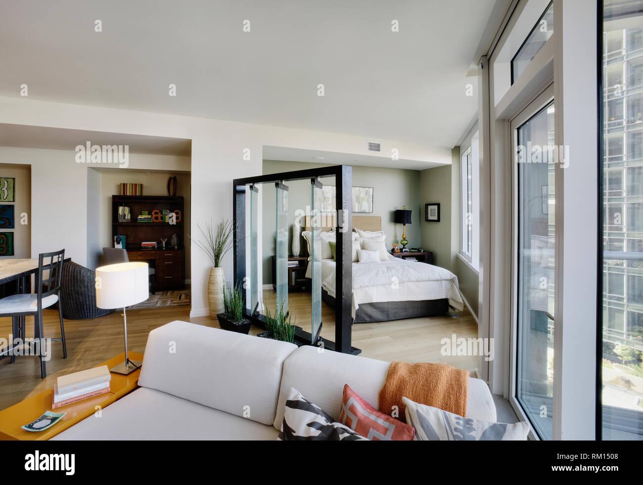 Open Floor Plan In Luxury Highrise Apartment Stock Photo Alamy