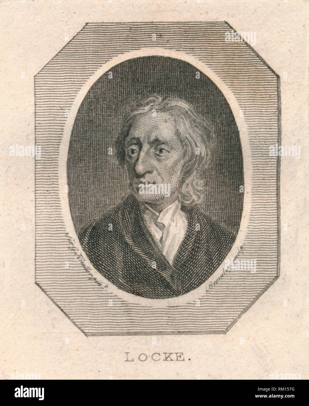'Locke', c1800. Portrait of English physician and philosopher John Locke (1632-1704), regarded as one of the most influential of Enlightenment thinkers, commonly known as the 'Father of Liberalism'. - Stock Image