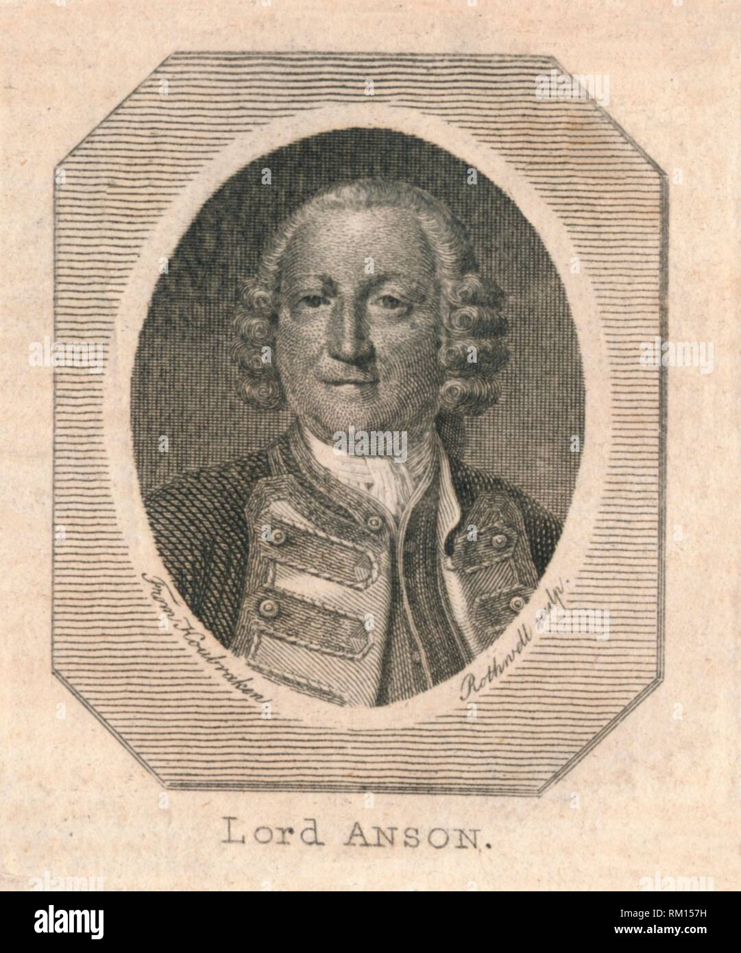 'Lord Anson', c1800. Portrait of English naval commander George Anson, Baron Anson (1697-1762). Anson commanded a Royal Navy squadron of 6 ships sent to attack Spanish interests in South America at the outset of the War of Austrian Succession in September 1740. The expedition failed to achieve its military objective, 5 of the ships were lost and many of the crews succumbed to shipwreck and scurvy. Anson and the survivors aboard the remaining ship, the 'Centurion', arrived back in England in June 1744, having circumnavigated the globe. He was created a Baron after his victory over the French at - Stock Image