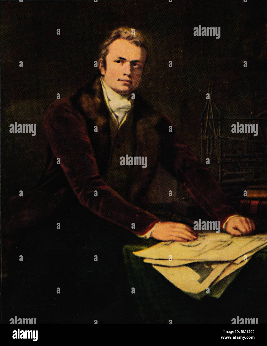 'Pathfinders - Sir Marc Isambard Brunel', c1812, (1922). Portrait of Sir Marc Isambard Brunel, British engineer and inventor (1769-1849) with drawings and a model of the morticing machine of the Portsmouth blockmaking machine he made with machine builder Henry Maudslay. The blockmaking machine introduced the mass production of ships' blocks. From 1825, Brunel was engaged, along with his son Isambard Kingdom Brunel, to construct the first Thames tunnel, which was completed in 1843. He also improved saw-mills and dockyard machinery at Chatham in Kent and Liverpool. Painting in the National Portr - Stock Image