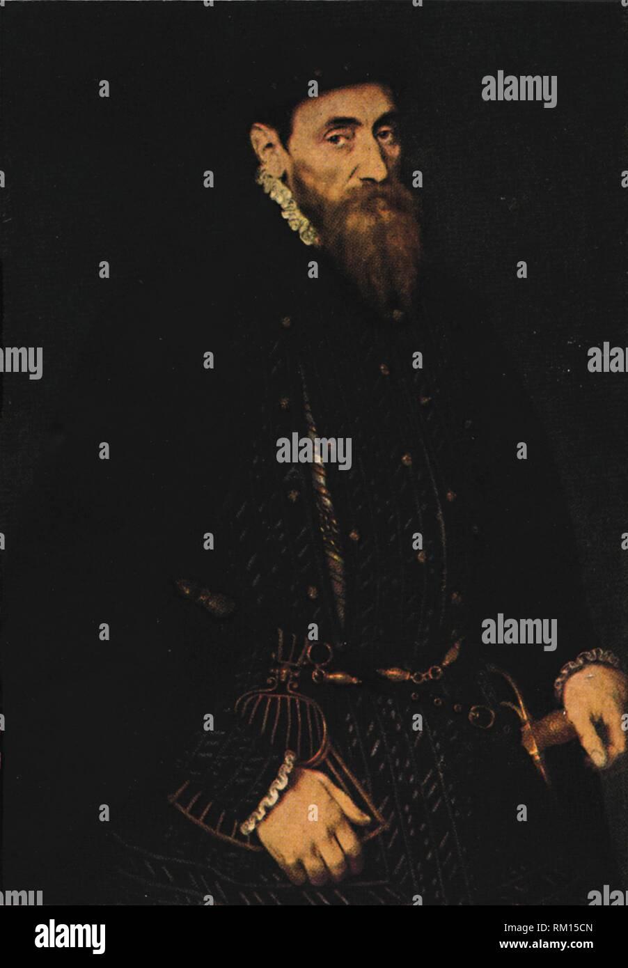 "'Pathfinders - Sir Thomas Gresham', c1565, (1922). Portrait of English merchant and financier Sir Thomas Gresham (c1519-1579), founder of the Royal Exchange in London. From ""Bibby's Annual 1922"", edited by Joseph Bibby. [J. Bibby & Sons, London, 1922] - Stock Image"