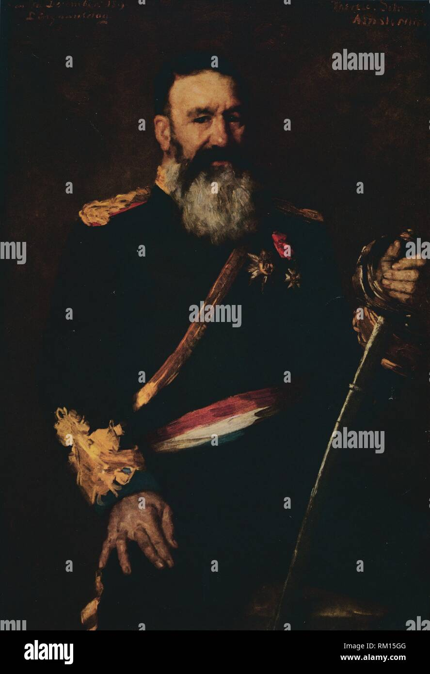 """'General Piet Joubert, Commander-In-Chief of the Dutch South African Republic', 1890. (1914). Portrait of Afrikaner soldier and statesman Petrus Jakobus Joubert (1831-1900), Commander-in-chief of the Boers, Vice-president of the Transvaal. From """"Bibby's Annual 1914"""", edited by Joseph Bibby. [J. Bibby & Sons, London, 1914] - Stock Image"""
