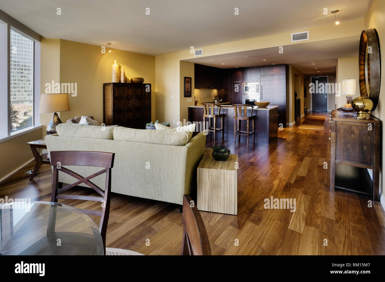 Open floor plan in luxury apartment Stock Photo: 236054343 ...
