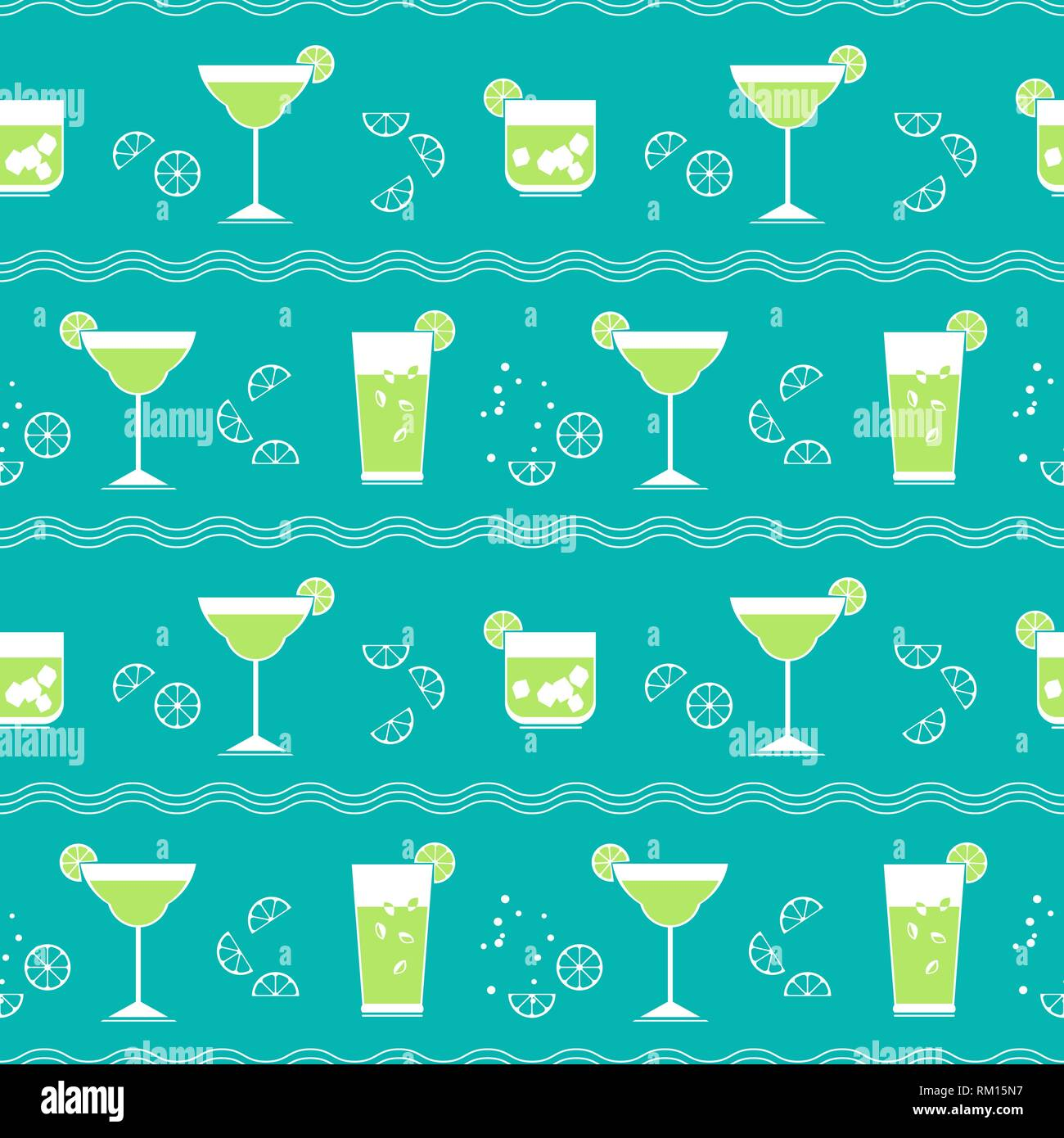 Flat cocktail party vector seamless pattern Stock Vector