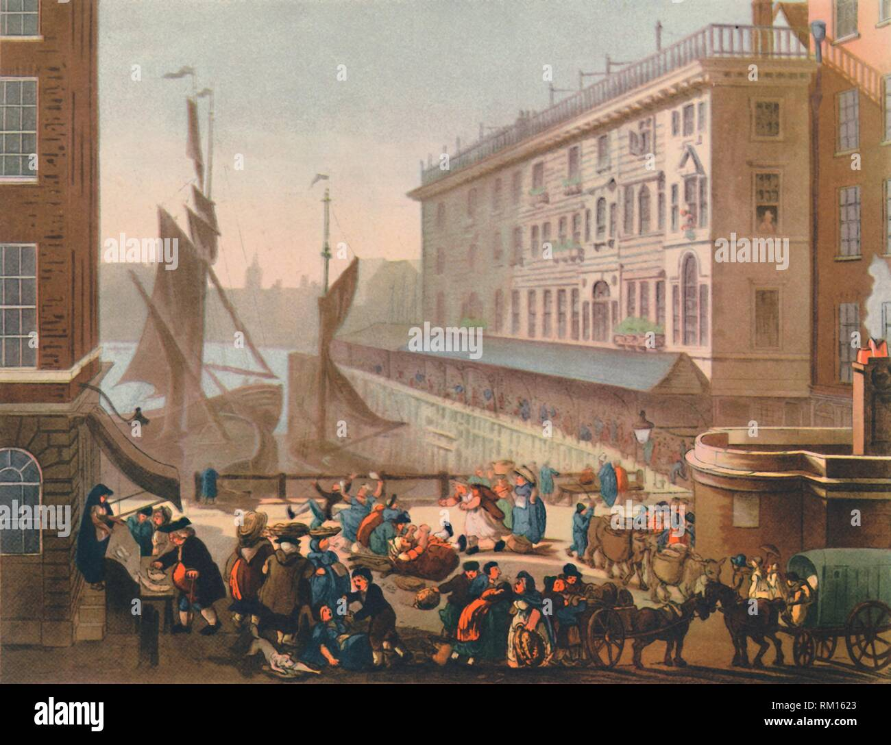 "'Billingsgate Fish Market', 1808, (1944). View of the 'old' open-air fish market on the banks of the River Thames in the City of London. Fresh fish was landed and sold directly on the dockside. The market opened at 4 o'clock each morning, attracting all-night revellers, and was famous for the coarse language used by the female workers - two women can be seen fighting in the foreground. Previously published in ""Microcosm of London"". From ""The English At Table"", by John Hampson. [William Collins, London, 1944] - Stock Image"