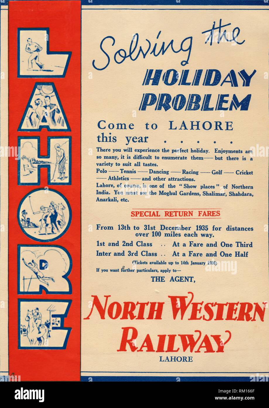 """Advertisement for the North Western Railway promoting travel to Lahore, 1936. 'Solving the Holiday Problem - Come to Lahore this year'. Advertisement aimed at the British colonial community, for railway travel to the city of Lahore in northern India, (now in Pakistan). Attractions included various sports, dancing, and the Moghul Gardens. From """"The Civil and Military Gazette"""" Annual, 1936. [India, 1936] - Stock Image"""