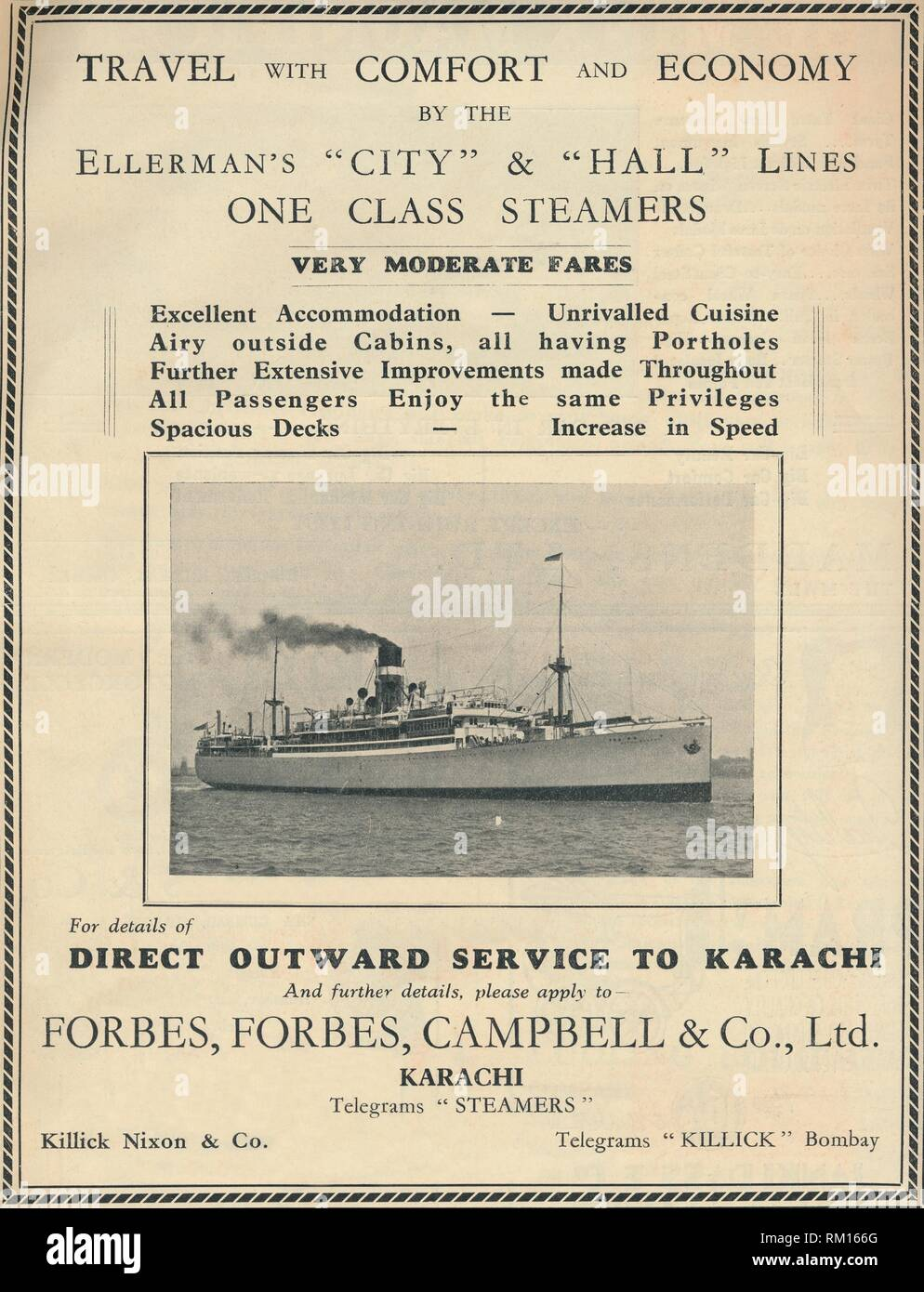 """Advertisement for Ellerman's steamers, 1936. 'Travel with Comfort and Economy by the Ellerman's """"City"""" & """"Hall"""" Lines One Class Steamers'. Ellerman Lines steamship company advertising travel to India, offering cabins with portholes, and a service in which 'all passengers enjoy the same privileges'. From """"The Civil and Military Gazette"""" Annual, 1936. [India, 1936] - Stock Image"""